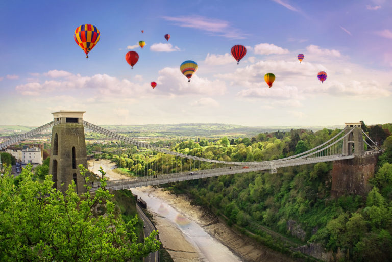 Hot air balloons flying over Bristol Suspension Bridge